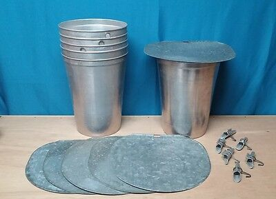 3 MAPLE SYRUP Aluminum Sap Buckets + 3 Lids GRIMM COVERS + 3 TAPS Spiles Spouts