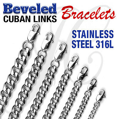 """Stainless Steel 316L Beveled Cuban Links Bracelets 7.5""""-10.5"""" 4mm-10mm thick"""