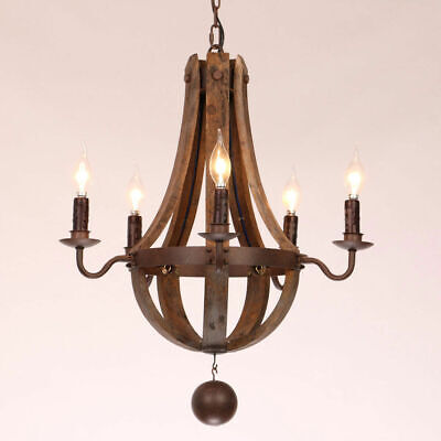 Rustic Lodge Wooden Wine Barrel Stave Pendant Chandeliers Candle Style 5&6 Light