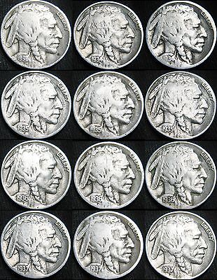 ALL 12 Coins Short Set 1934 - 1938 P D S BUFFALO NICKELS 5¢! NICE! Free S&H BD94