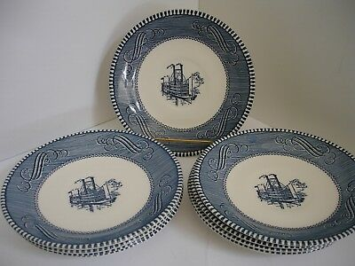 Currier & Ives Blue by Royal  - Set of 9 Saucers