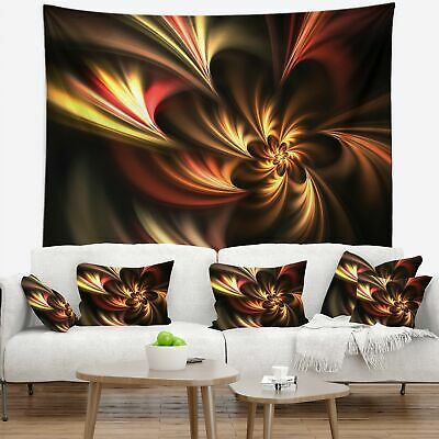 Designart 'Glossy Yellow and Red Fractal Flower' Floral Wall Tapestry