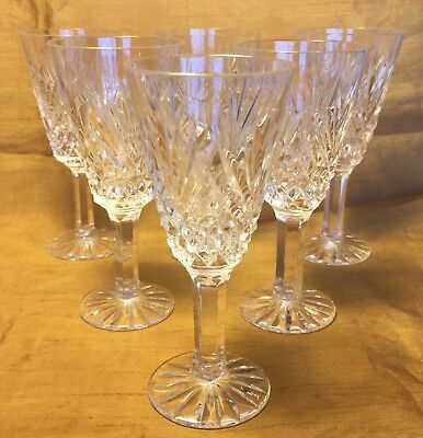 Set 6 TYRONE Irish Crystal Cordial Sherry Cut Glass Stemware w Fan TYR6 Pattern