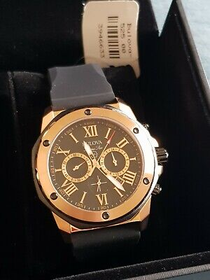 Bulova Men's Chronograph Black Rubber Strap Watch 44mm 98B104 New in Box & tags