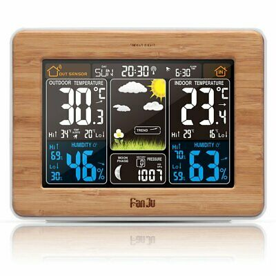Color Screen Weather Forecast Clock  Bamboo Electric Wave Clock Multi-Function☼★