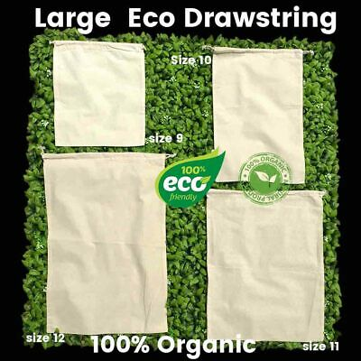 Eco Large Drawstring Bags Large Eco  Tote Calico Bags 150gsm 100% Cotton 1-200