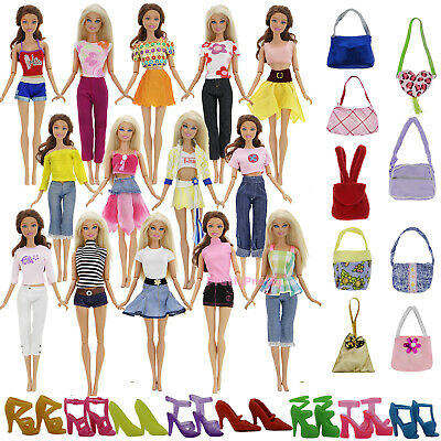 15 A Lot =  5 Outfits Blouse Bottom 5 Bag 5 Shoes Clothes For 12 in. Blythe Doll