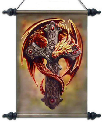 "Anne Stokes Scroll ""Woodland Guardian"" Orange Dragon on Celtic Cross"