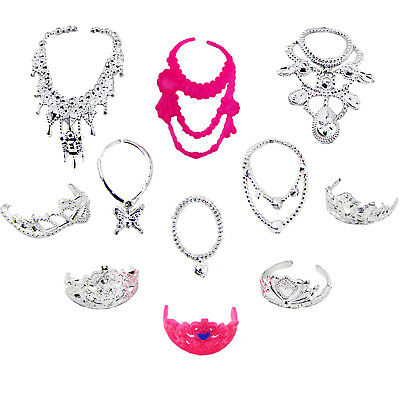 RANDOM 6 Necklace + 5 Crown Princess Dress Accessories Clothes For 12 in. Doll