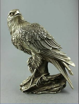 Exquisite Chinese Collectible Handwork Tibet Silver Carve Eagle On Statue nice