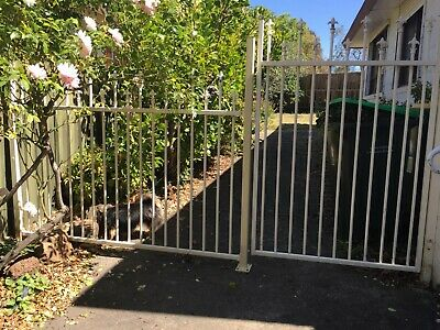 Wrought iron metal gate, fences and posts,