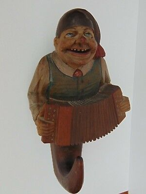 Vintage Italian Anri Hand Carved Wooden Coat Hook Traditional Man Musician