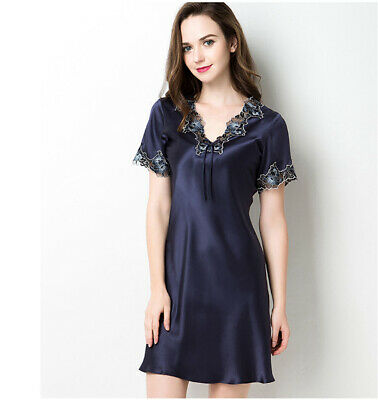 a7bcc94640 Women s Pure 100% Silk Chemise Nightgown Lacy Silk Sleepwear Free Size S M