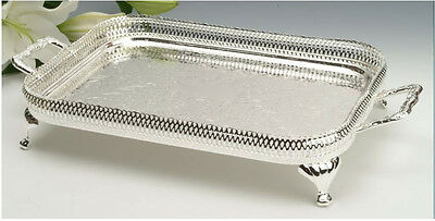 Vintage Silver Plated Rectangle Gallery Tray with Legs- GIFT-SALE