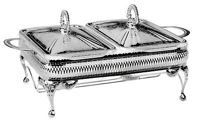 Silver Plated Double Casserole Server with Lid&Warmer- Gift-SALE