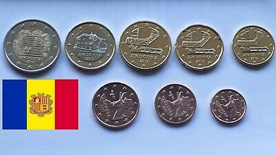 Serie ANDORRA - ANDORRE - 8 monnaies toutes  2017 - All 8 coins from Year 2017