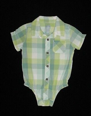 EUC Baby GAP Aqua Blue & Green Plaid Button Down Dress Shirt Bodysuit 6-12 M