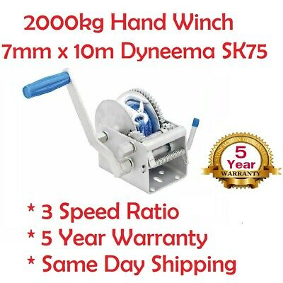 Hand Winch 2000KG/4410LBS 3 Speed Dyneema Rope Manual Car Boat Trailer 4WD