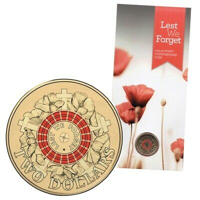 2015 $2 Poppy Counterstamp Red ANZAC Lest We Forget Coin