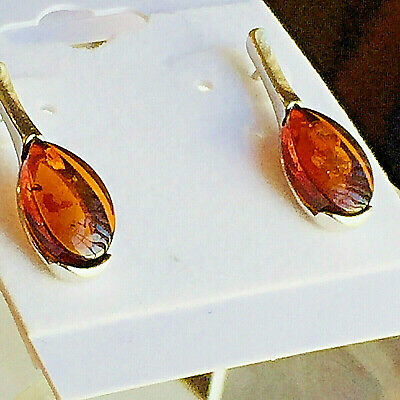 100% Genuine Russian Baltic Amber Earrings Vintage Egg Yolk Butterscotch Polish