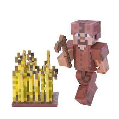"New Official Minecraft Steve In Leather Armour 3"" Action Figure Toy"