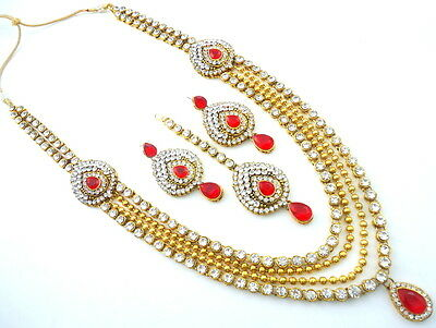 Bridal & Wedding Party Jewelry Engagement & Wedding The Best Red Lct Cz Gold Tone Indian Bollywood Shaadi Bridal Wedding Necklace Set Jewelry