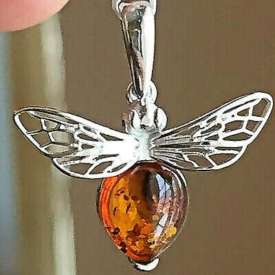Genuinel Russian Baltic Amber Bee Necklace Butterscotch Egg Yolk Polish Vintage