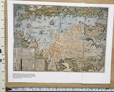 "Antique vintage historical map 1600s: Nagasaki, Japan 12 X 9"" Reprint 1680c"