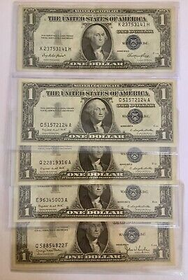 1935-1957 *lucky* $1 Silver Certificate Rare Blue One Dollar Bill Lot Note