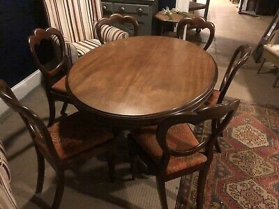 Antique Victorian Mahogany Breakfast Table & 6 Chairs