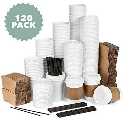 Average Joe - 120 Pack - 12 Oz Disposable Hot Paper Coffee Cups, Lids, Sleeves,
