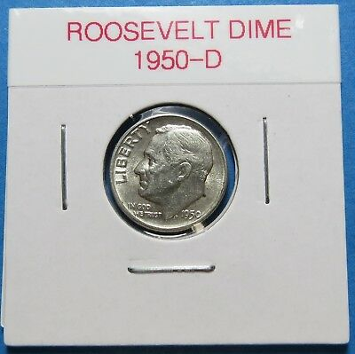 1950-D  Roosevelt Silver Dime ~ Great Birth Year Gift Idea ~ Comb Ship ~ Lot 595