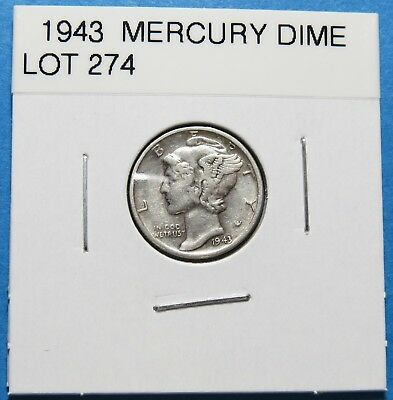"""1943  Mercury Dime ~ For Gift Or Set ~ """" 90% Silver ~ Combined Shipping Lot 274"""
