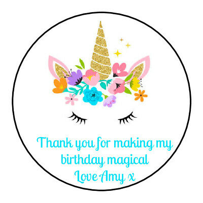 Unicorn head personalised girls Thank You Stickers Party Bag Sweet Cone Birthday