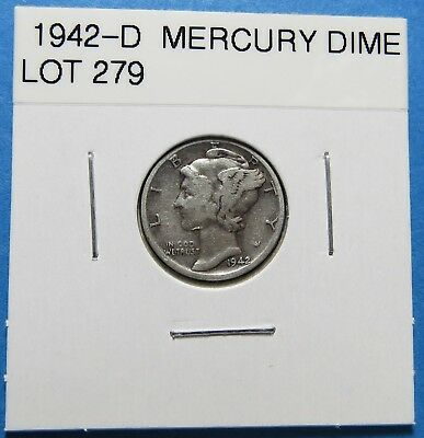 1942-D  Mercury Dime ~ For Collection Set Or Gift ~ Combined Shipping Lot 279