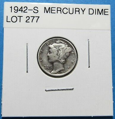 1942-S  Mercury Dime ~ For Collection Set Or Gift ~ Combined Shipping Lot 277