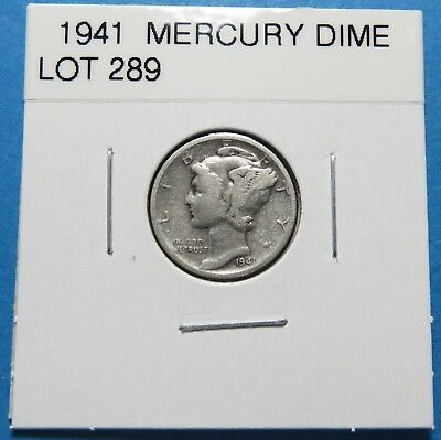 """1941  Mercury Dime ~ Gift Or Set ~ """" 90% Silver ~ Combined Shipping Lot 289"""