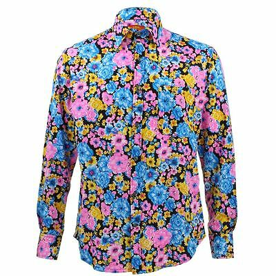 c7a0a9ff Mens Loud Shirt Retro Psychedelic Funky Party TAILORED FIT Floral Black