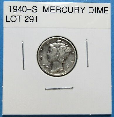 """1940-S  Mercury Dime ~ For Set Or Gift~ """" 90% Silver ~ Combined Shipping Lot 291"""