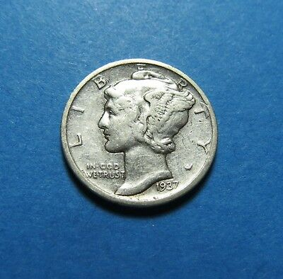 """1937-D  Mercury Dime ~ For Set Or Gift~ """" 90% Silver ~ Combined Shipping Lot 305"""