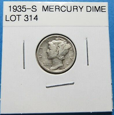 """1935-S  Mercury Dime ~ For Set Or Gift~ """" 90% Silver ~ Combined Shipping Lot 314"""