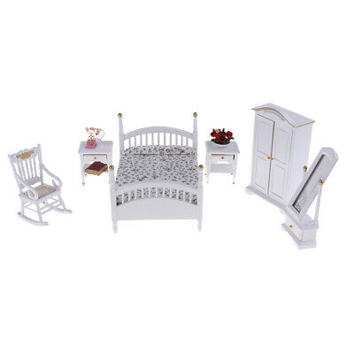 10pc Miniature Bed Wardrobe Chair Table 1/12 Dollhouse Bedroom Furniture Set