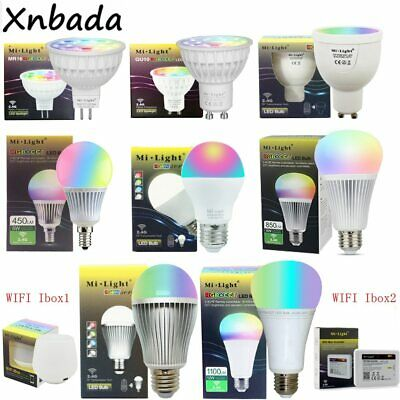 Milight 2.4G Led Bulb,MR16 GU10 E14 E27 Led Lamp Smart Wireless 4W 5W 6W 9W 12W