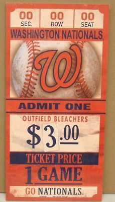"""Washington Nationals Game Ticket Admit One Go Nationals Wood Sign 6""""x12'' New"""
