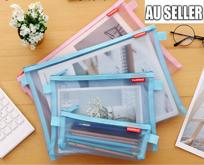 3 Sizes Clear Pencil Case Office Mesh Zipper Stationery Bag School Document Bag