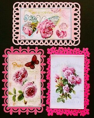 Pink Card Toppers With Fancy Edges - Plus French Shabby Chic Picture Toppers X 3