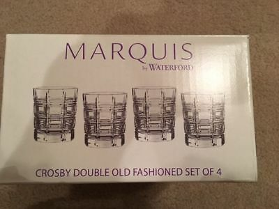 Marquis By Waterford Crosby Double Old Fashioned Glasses Set Of 4 Nib