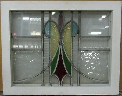 "OLD ENGLISH LEADED STAINED GLASS WINDOW Stunning Abstract Design 18.5"" x 14.75"""