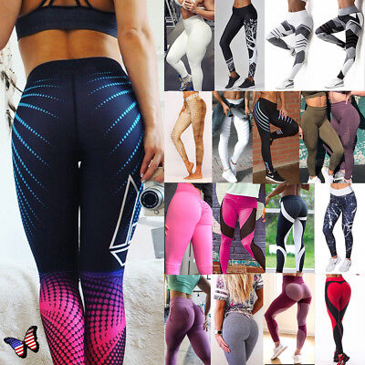Women's Sport Pants Yoga Fitness Leggings Butt UP Exercise Stretch Trousers A69