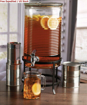 Circleware 68167 Canned Mason Jar Glass Beverage Dispenser with Metal Stand...